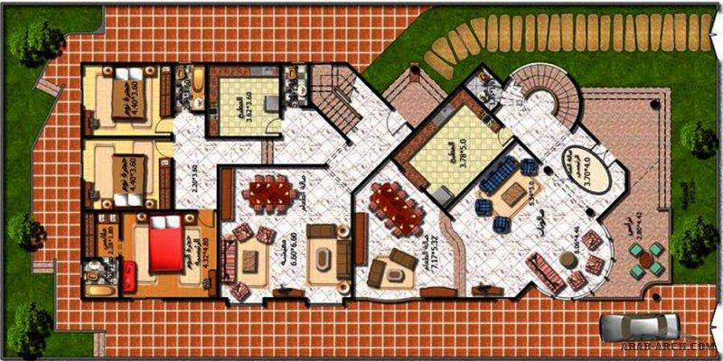 مشروع فيلا سكنية مخطط طابقين بتصميم خاص من اعمال مكتب فكرة الهندسي