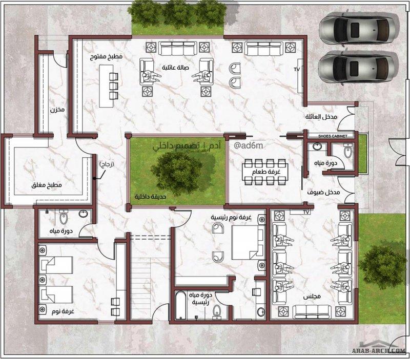 تصميم ارضي بحديقة داخلية  الأرض 24 * 21 مسطح البناء 300 م2 من اعمال م/ آدم