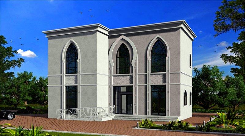 مخطط طابقين طراز اسلامي غرف النوم 4 المساحة 256.64 متر مربع أبعاد البيت 14.30 م x 11.90 م