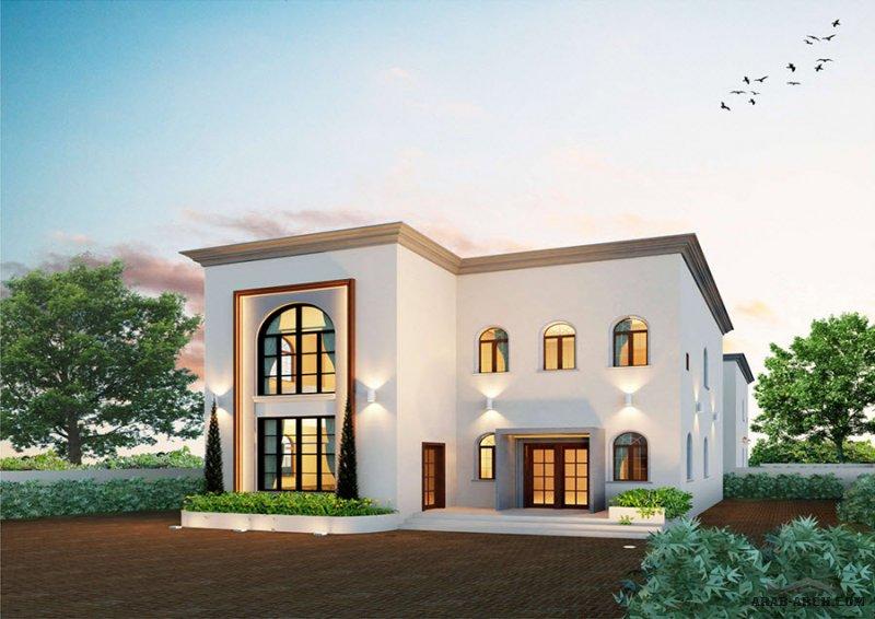 مخطط فيلا خليجي غرف النوم 4 المساحة 264 متر مربع عدد الطوابق أرضي - أول أبعاد البيت 13.20 م x 11.80 م  ارتفاع السقف 9.00 متر