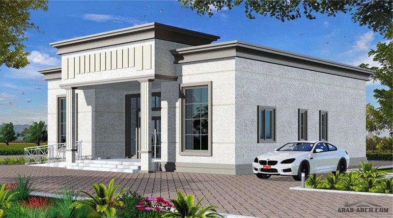 مخطط منزل دور واحد اقتصادي غرف النوم 3 المساحة 161.28 متر مربع عدد الطوابق أرضي أبعاد البيت 13.80 م x 12.60 م  ارتفاع السقف 8.00 متر