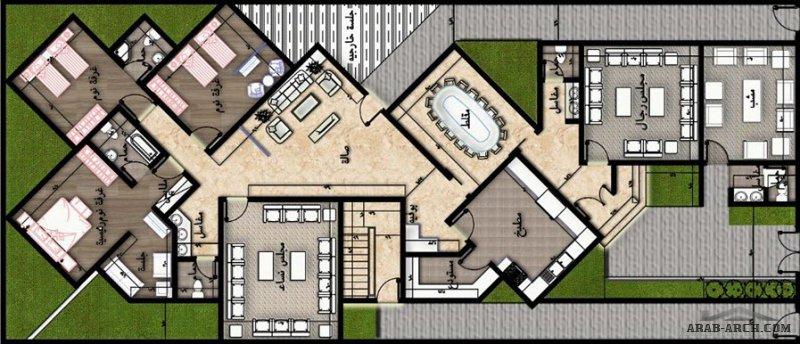 تصميم فيلا سكنيه دور ارضي بغرف خلفيه بطريقه مختلفه مساحة الارض 520 متر مربع  من منشورات  مهندس علي العبادي