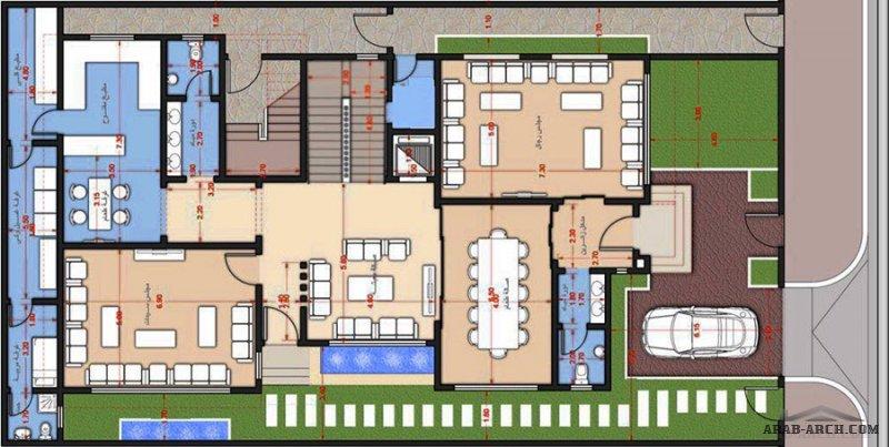 مخطط فيلا دورين وشقق مسروقة مساحة الارض 28*16 متر علي شارع واحد