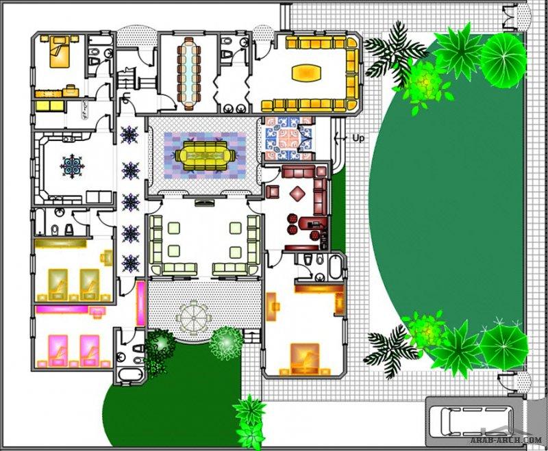 مخطط أرضي تصميم مميز و عملي الارض 33.4 متر * 28.6 متر