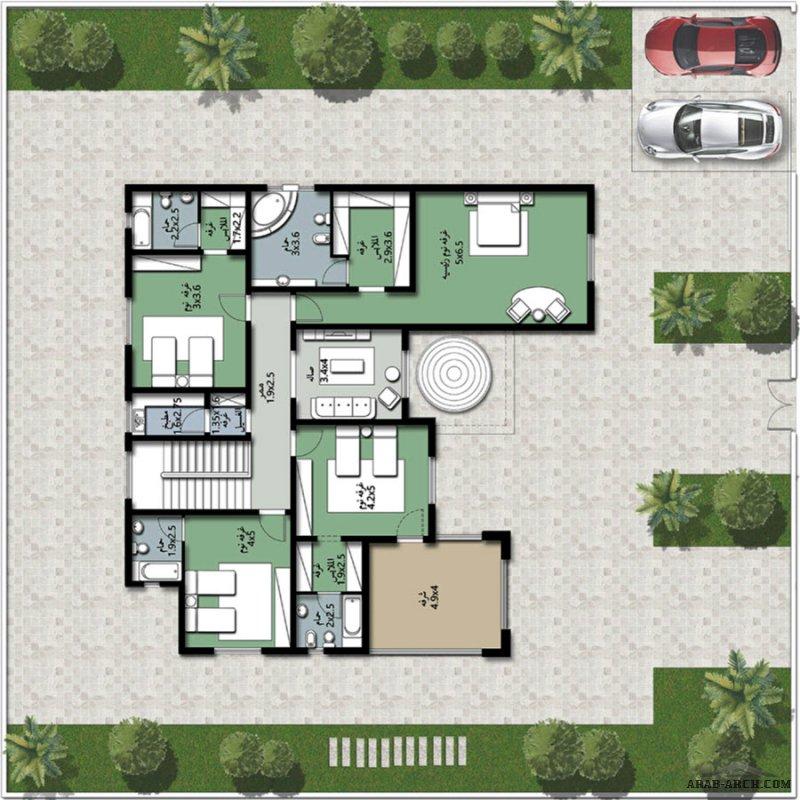 مخطط 5 غرف دورين  480 متر مربع نمط خليجي رااائع جداا من برنامج الشيخ زايد للاسكان
