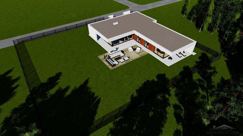 استراحة عائلية حرف L غرف نوم 4 مساحة المباني 234 متر مربع