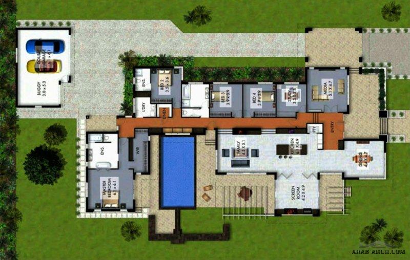 منزل  دور واحد  عصري مودرن موافات عملية جدا بمسبح و مساحة داخلية مفتوحة