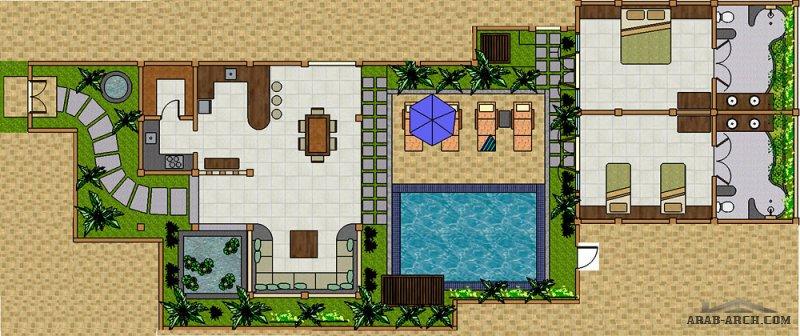 تصميم استرحة عائلية خاصة  مع عزل غرف النوم عن باقي الاستراحة