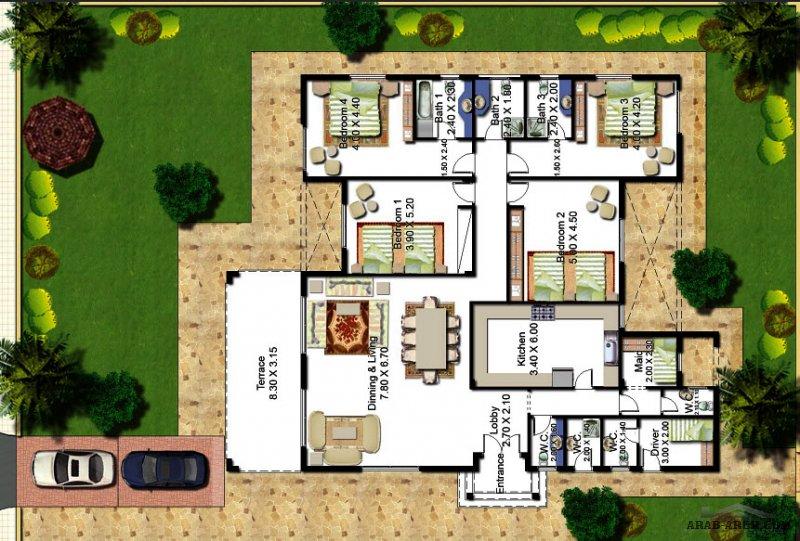 مخطط شاليه ساحلي 287.5 متر مربع 4 غرف نوم
