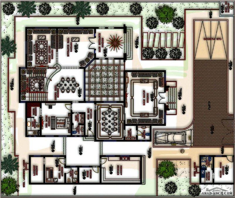 مخطط فيلا خليجي 5 غرف نوم طابقين و رووف بتصميم مميز