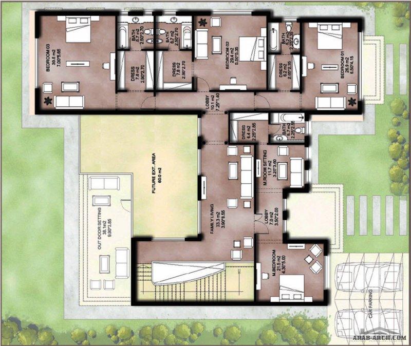 مخطط فيلا واجهة تقليدي خليجي 5 غرف نوم طابقين