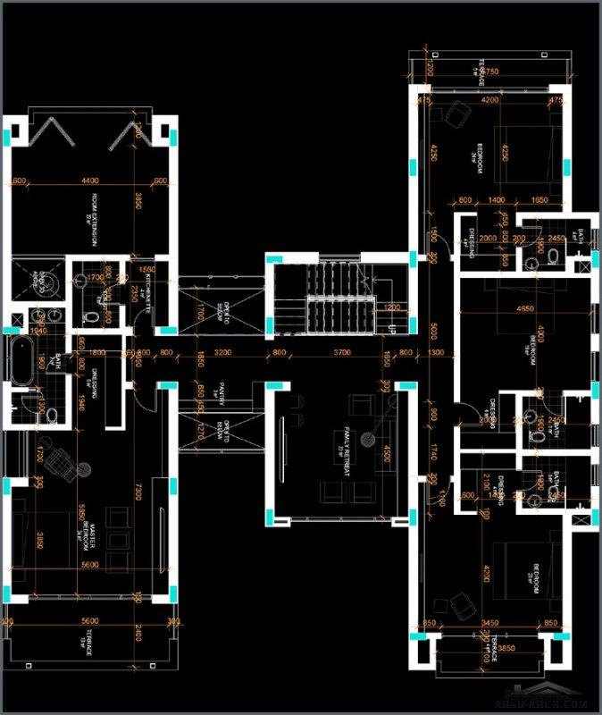 مخطط فيلا 5 غرف نوم 708 متر مربع تصميم خليجي