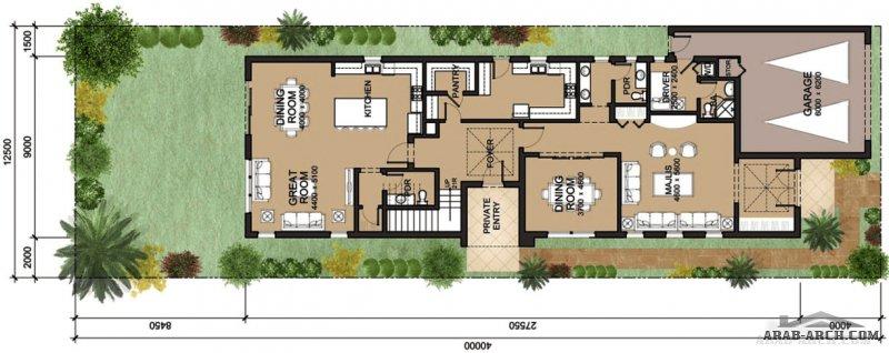 مخطط فيلا تصميم سعودي مساحة الارض 500 متر مربع 4 غرف نوم 4 حمامات كاملة (فى غرف النوم وحمام للعائلة و حمام للضيوف) سويت كبير