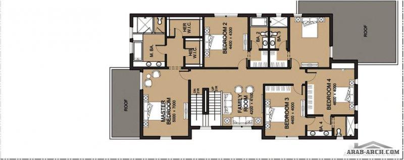 مخطط فيلا تصميم سعودي ابعاد الارض 40*16 متر 5 غرف نوم 4 حمامات كاملة (فى غرف النوم وحمام للعائلة و حمام للضيوف)