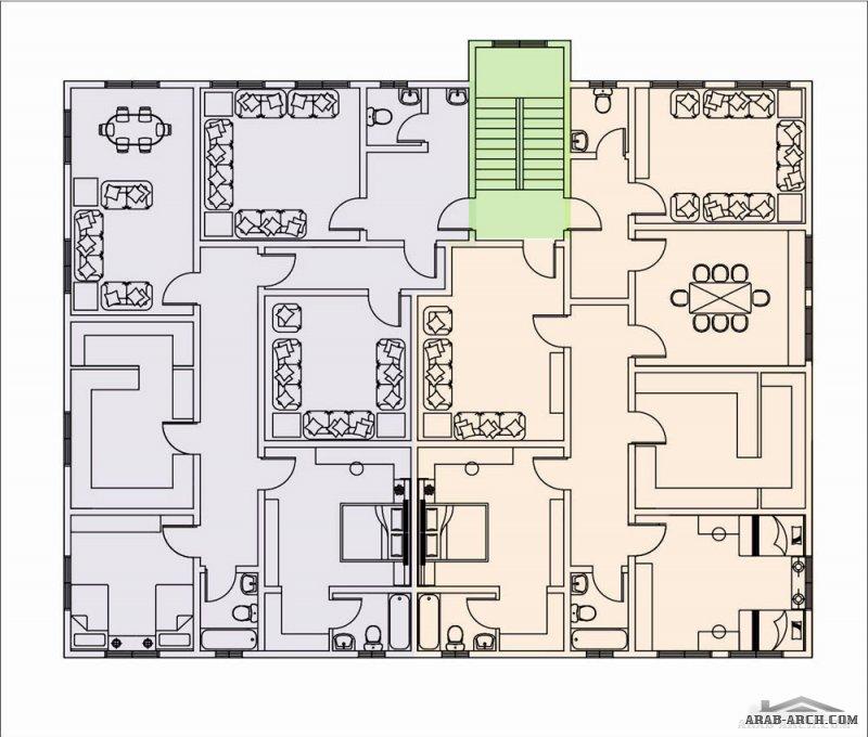 مخطط فيلا ارضية و 2 شقة علويه نمط سعودي تصميم حسب  طلب العميل
