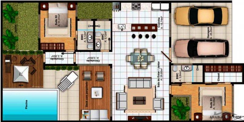 استراحة مودرن 2 غرفة نوم و مسبح بمساحة و تفاصيل مميزة