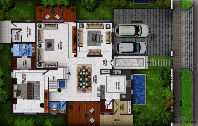 مخطط فيلا مودرن صغيرة المساحة طاقين و رووف  G+2 Floors