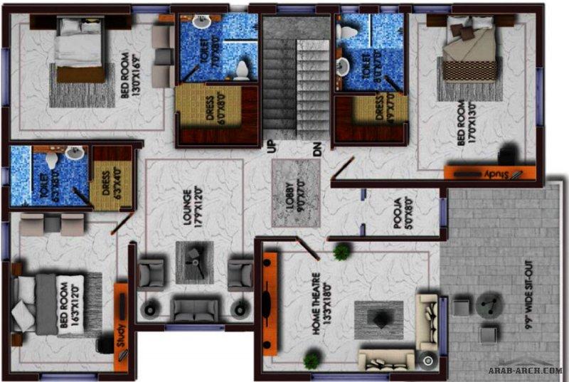 مخطط فيلا  2 مودرن صغيرة المساحة طاقين و رووف  G+2 Floors
