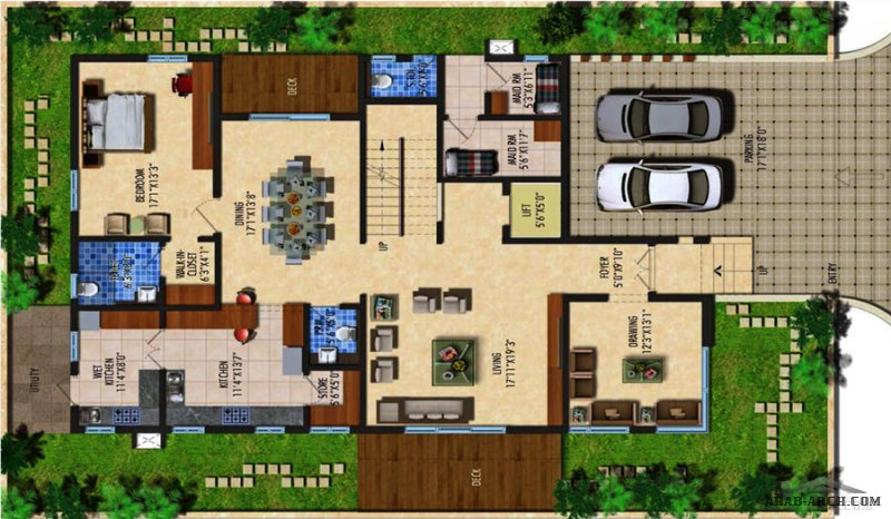 مخطط فيلا  3 مودرن صغيرة المساحة طاقين و رووف  G+2 Floors