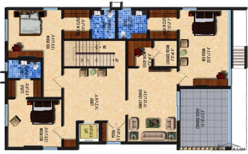 مخطط فيلا 4 مودرن صغيرة المساحة طاقين و رووف  G+2 Floors
