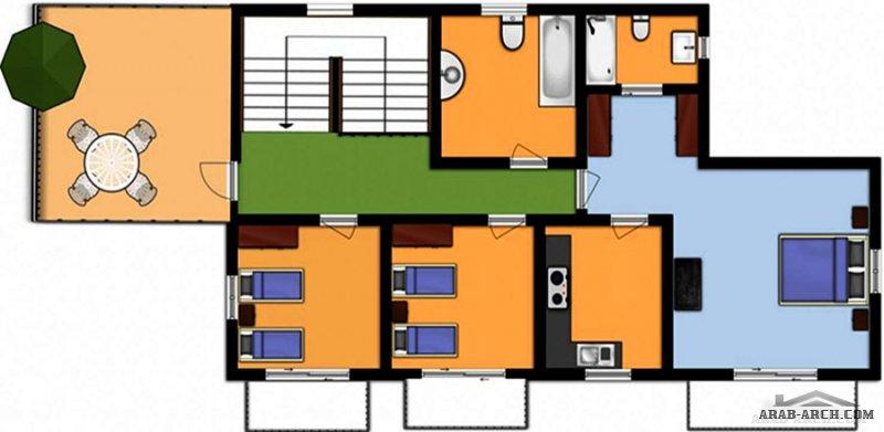 مخطط استراحة عائلية رائعه و مميزه بمسبح خاص و 4 غرف نوم