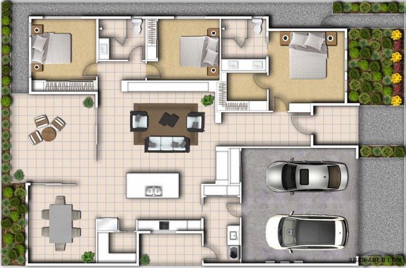 3 نماذج رسومات مخططة لبيوت طابق واحد مرتبه و عملية تصاميم مودرن