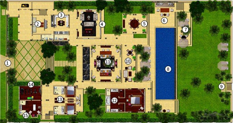 استراحة كبيرة بتصميم فاخر اجنحه و غرف منفصله حمام سباحة و حدائق
