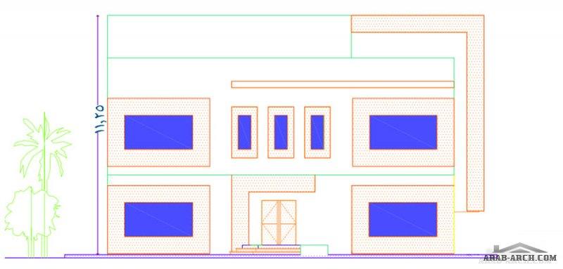 مخطط ارض 20*20 شقة بالارضي - شقتين بالعلوي - شقة بالرووف