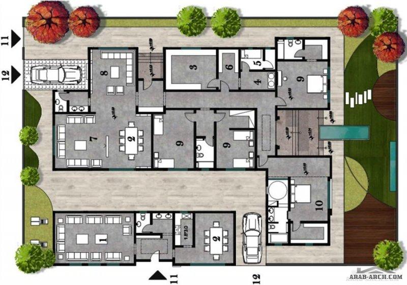 من اعمال SQ architects  تصميم فيلا دور أرضي بطراز مختلف احتراف و ابداع المخطط والواجهات