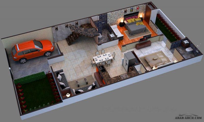 5 غرف تصميم حديث فيلا صغيرة المساحة طابقين
