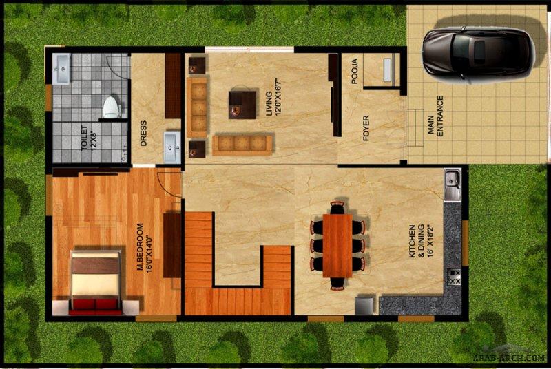 3 غرف نوم تصاميم فيلا اللوتس مودرن صغيرة المساحة