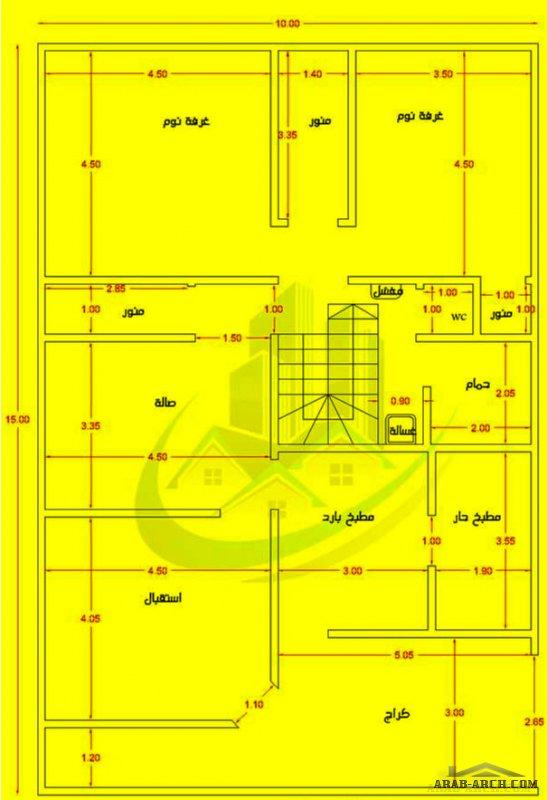 مخطط رائع جدا طابق واحد صغير المساحة من اعمال مكتب شمس للمقاولات ابعاد الارض 10*15 متر