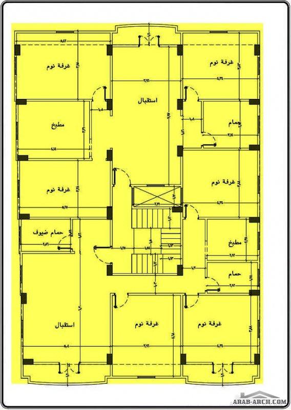 مخططشقة ارضية و 2 شقة دور متكرر مساحة 258 متر مربع من اعمال المهندس طاق سلام