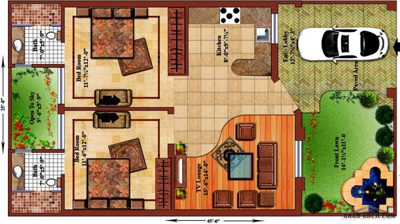 مخطط طابق واحد صغير المساحة غرفتين نوم ماستر