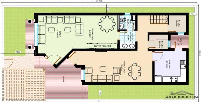 مخطط بيت دورين مساحة200م مخطط فله بمساحة200م تصاميم متنوعة بمساحة200م مخططات