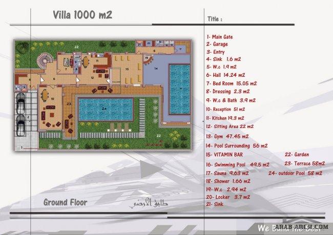 Villas 1000مترمربع مخطط فلل أعمار1000م تصميم فلل بمساحة1000م مخطط منازل1000م