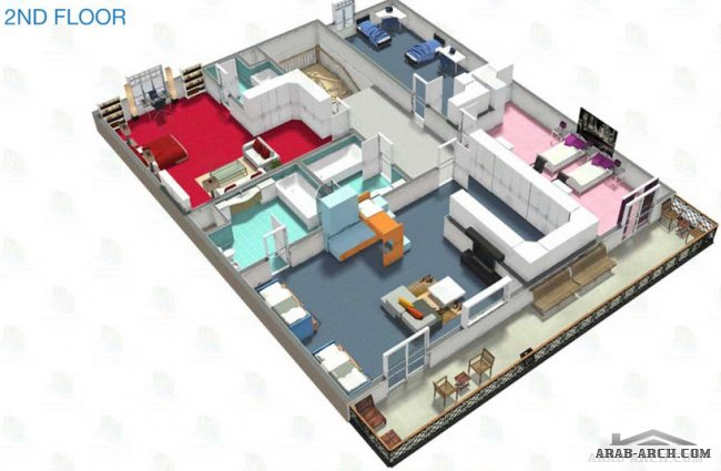 3D Floor Plan of 6 Bedroom Villa type E1 - Hydra Village