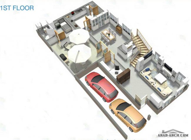 Floor Plan of 4 Bedroom Villa A2- 3870 Sq. Ft., Hydra Village