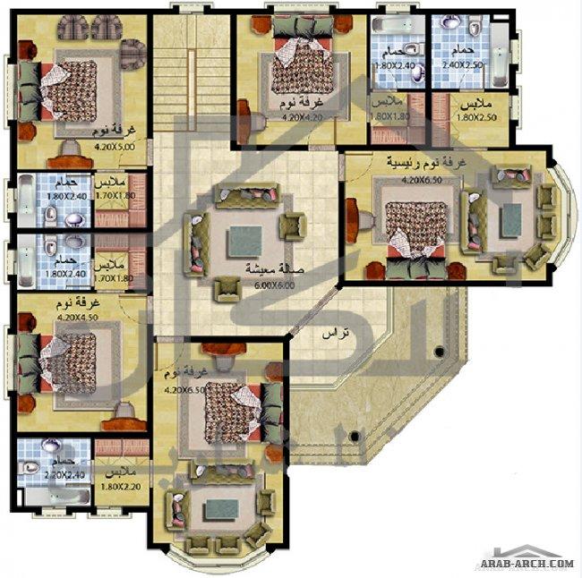 فلل مودرن بالمخطط 3d الديكور الداخلى Arab Arch: فيلا طابقين 6 غرف نوم ماستر