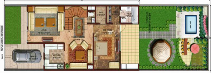 Garden & pool Duplex Villa  floor plans